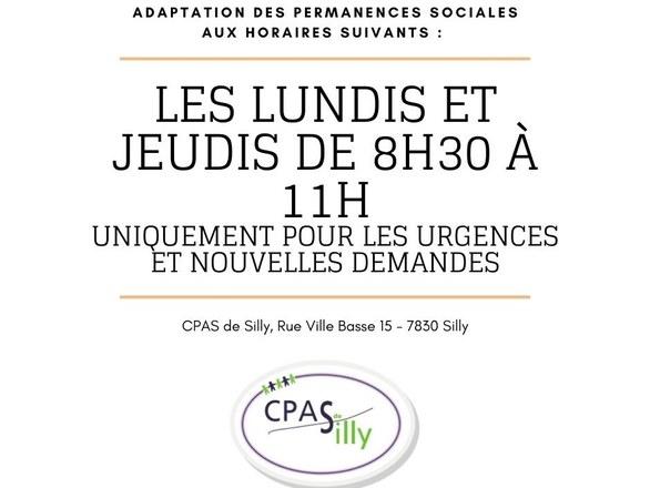 Modification horaire des permanences sociales au CPAS